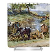 Gypsy Encampment Shower Curtain by John Atkinson