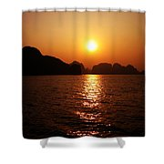 Ha Long Bay Sunset Shower Curtain by Oliver Johnston