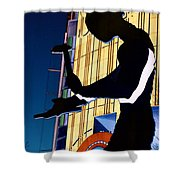 Hammering Man Shower Curtain by Tim Allen