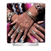 Hands Of The Earth Shower Curtain by Linda  Parker