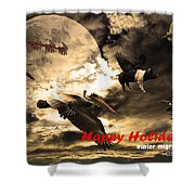 Happy Holidays . Winter Migration Shower Curtain by Wingsdomain Art and Photography