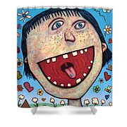 Happy Pill Shower Curtain by James W Johnson