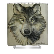 Happy Wolf Shower Curtain by Linda Diane Taylor