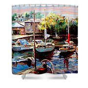Harbor Sailboats At Rest Shower Curtain by Ronald Chambers
