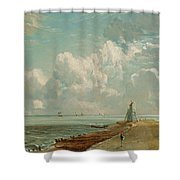 Harwich - The Low Lighthouse And Beacon Hill Shower Curtain by John Constable
