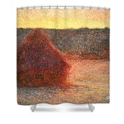 Haystacks At Sunset Shower Curtain by Claude Monet