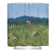 Haystacks Shower Curtain by Maura Satchell
