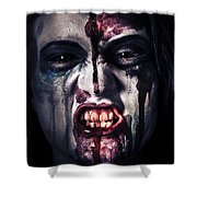 Head Shot On A Pure Evil Zombie Girl Shower Curtain by Ryan Jorgensen