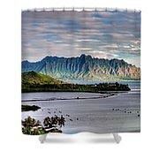 He'eia Fish Pond And Kualoa Shower Curtain by Dan McManus