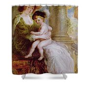 Helene Fourment And Her Son Frans Shower Curtain by Rubens