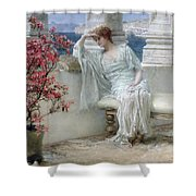 Her Eyes Are With Her Thoughts And They Are Far Away Shower Curtain by Sir Lawrence Alma-Tadema