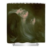 Her Mother's Kiss Shower Curtain by Eugene Carriere