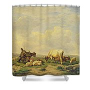 Herdsman And Herd Shower Curtain by Eugene Joseph Verboeckhoven
