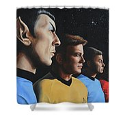 Heroes Of The Final Frontier Shower Curtain by Kim Lockman