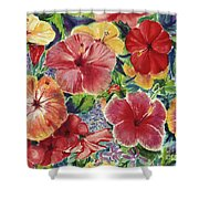 Hibiscus Impressions Shower Curtain by Patti Bruce - Printscapes