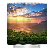 Highlands Sunrise - Whitesides Mountain In Highlands Nc Shower Curtain by Dave Allen