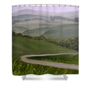 Highway Into The Hills Shower Curtain by Toni Berry