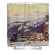 Hillside At Croisset Under Snow Shower Curtain by Joseph Delattre