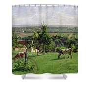 Hillside Of Vesinet Shower Curtain by Camille Pissarro