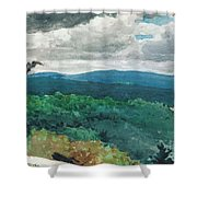 Hilly Landscape Shower Curtain by Winslow Homer