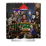 Horror Card Game Shower Curtain by Tom Carlton