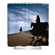 Horseback Riders In Silhouette On Sand Shower Curtain by Axiom Photographic