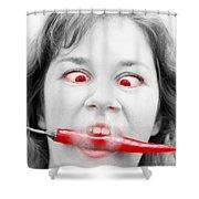 Hot Chilli Woman Shower Curtain by Ryan Jorgensen