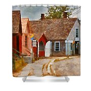 Houses - Maritime Village  Shower Curtain by Mike Savad