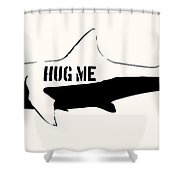 Hug Me Shark - Black  Shower Curtain by Pixel  Chimp