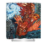 Humanity Fish Shower Curtain by Emily McLaughlin