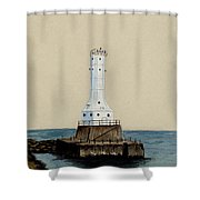 Huron Harbor Lighthouse Shower Curtain by Michael Vigliotti