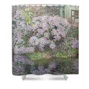 Hydrangeas On The Banks Of The River Lys Shower Curtain by Emile Claus