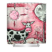 I Love Moo Original Madart Painting Shower Curtain by Megan Duncanson