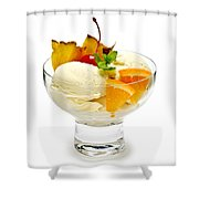 Ice cream with fruit Shower Curtain by Elena Elisseeva