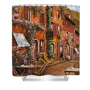 Il Bar Sulla Discesa Shower Curtain by Guido Borelli