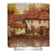 Il Borgo Rosso Shower Curtain by Guido Borelli