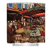 Il Mercato Di Quartiere Shower Curtain by Guido Borelli
