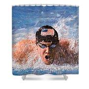Il Nuotatore Shower Curtain by Guido Borelli
