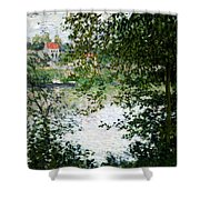 Ile De La Grande Jatte Through The Trees Shower Curtain by Claude Monet