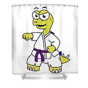 Illustration Of A Stegosaurus Shower Curtain by Stocktrek Images