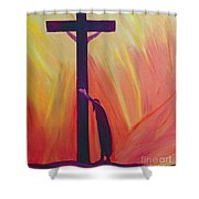 In our sufferings we can lean on the Cross by trusting in Christ's love Shower Curtain by Elizabeth Wang