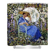 In The Garden Shower Curtain by Frederick Carl Frieseke