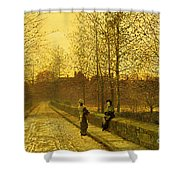 In The Golden Gloaming Shower Curtain by John Atkinson Grimshaw