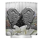 In The Land Of The Dragons Shower Curtain by Mo T