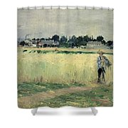In the Wheatfield at Gennevilliers Shower Curtain by Berthe Morisot