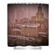 Independence Hall In The Snow Shower Curtain by Bill Cannon
