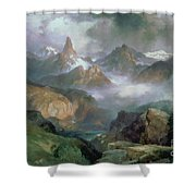 Index Peak Shower Curtain by Thomas Moran