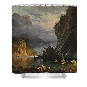 Indians Spear Fishing Shower Curtain by Albert Bierstadt