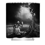 Is There Anybody Out There? Shower Curtain by Erik Brede