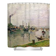 Island of the Cross at Rouen Shower Curtain by Camille Pissarro